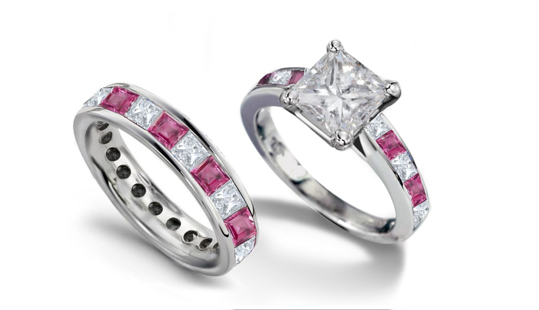 Princess Cut Diamond & Pink Sapphire Engagement Ring & Diamond Sapphire Band
