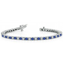 Sapphire Diamond Tennis Bracelets: Platinum Round Sapphire and Diamond Tennis Bracelet
