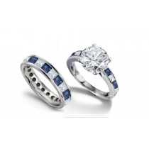 Brilliant Cut Round Diamond & Princess Cut Diamond Engagement Ring & Matching Wedding Band in Platinum