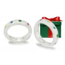 14k White Gold Rainbow Sapphire Eternity Women's Wedding Rings