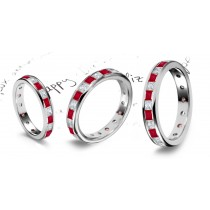 Dancing in the Light: Princess Cut Ruby Diamond Eternity Ring