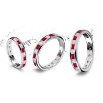 The Spell Will Endure: Princess Cut Ruby Diamond Eternity Ring