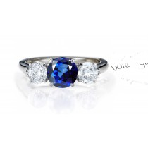 Dreams & Reality: An Exquisite Sapphire Diamond Three Stone Ring.