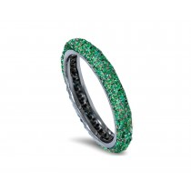 Latest Collection: Delicate Halo Micropave Side Accents Green Emeralds Eternity Wedding Anniversary Rings