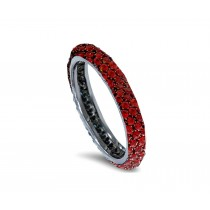Delicate Women's Eternity Rings Featuring Fiery Red Rubies &Diamonds in Halo Precision Micro pave Settings