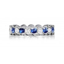 Expertly Crafted Precision Set High Quality Diamond & Sapphire Eternity Band Rings
