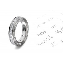 Evoking A Dazzling Star:Twinkling Asscher Cut Diamonds are Channel Set with Scribed Motifs on Anniversary Band Sides