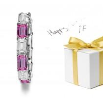 Designer Pink Sapphire & Diamond Wedding Bands