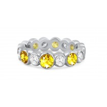 Shop Fine Quality Made To Order Round Bezel Set Diamond & Yellow Sapphire Eternity Style Wedding & Anniversary Rings