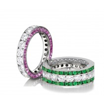 Made to Order Great Selection of Channel Set Brilliant Cut Round Diamonds Emeralds & Pink SapphiresEternity Rings & Bands