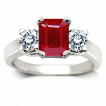 Ruby Three Stone Rings:Ruby Octogon & Round Diamonds Rings in Platinum