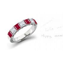 Innovative:Eight Stone Princess Cut Ruby& Diamond Wedding Band