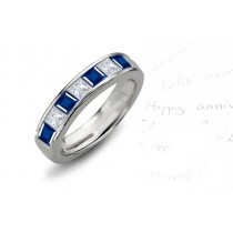 Square Sapphire Diamond 7-Stone Men's Ring