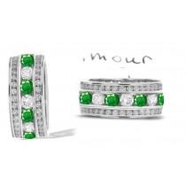 Stacked Emerald & Diamond Eternity Wedding Anniversary Ring