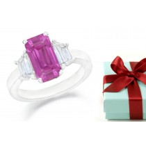 Emerald Pink Sapphire Three Stone Sapphire Engagement Ring with Trapezoid Diamonds in 14k White Gold