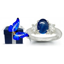 Cabochon Blue Sapphire Three Stone Engagement Ring with Oval Diamonds in 14k White Gold