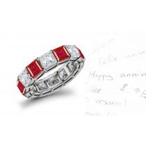 To Cherish Forever: Princess Cut Ruby Diamond Eternity Ring