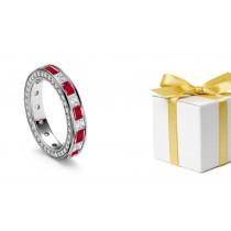 Understated Elegance: Princess Cut Diamond & Ruby Eternity Ring