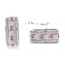 Princess Cut Pink Sapphire & Diamond Eternity Rings