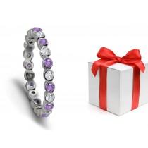 Views From Top: Purple Sapphire & Diamond Designer Wedding Rings