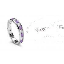 Observatory Classic Purple Sapphires & Diamonds Eternity Ring