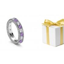 World's Top Fashion Site: Classic Purple Sapphires & Diamonds Eternity Ring