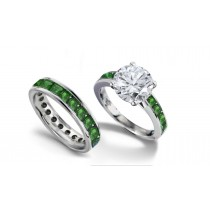 Brilliant Cut Round Diamond & Square Emerald Engagement Ring & Matching Wedding Band in Platinum