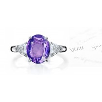 Lively Very Popular Purple Sapphire & Sparkling Diamond Engagement Ring
