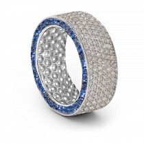 Shop Fine Quality Made To Order Round pave Set Diamond & Blue Sapphire Eternity Style Wedding & Anniversary Rings