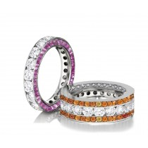 Made to Order Great Selection of Channel Set Brilliant Cut Round Diamonds Pink & Orange SapphiresEternity Rings & Bands