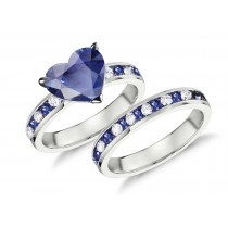 Handcrafted Blue Sapphire & Diamond Engagement Ring & Wedding Anniversary Band Bridal Set