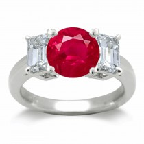 Ruby Three Stone Ring:Ruby ring set with a round ruby and two diamond octogon in Platinum