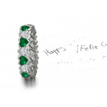 Heart Emerald & Heart Diamond Eternity Ring