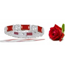 Baguette Ruby & Round Diamond Eternity Ring in Platinum & Gold