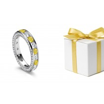 Classic Yellow Sapphires & Diamonds Eternity Ring Tension Free Shopping