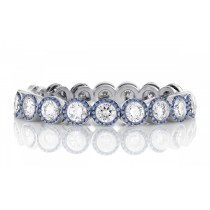 High Quality French pavee Halo Multi-Colored Sapphire & Brilliant-Cut Round Diamond Bridal Eternity Rings & Bands