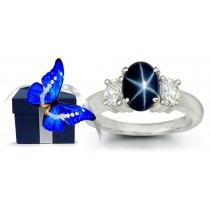 Oval Star Blue Sapphire Three Stone Sapphire Engagement Ring with Oval Diamonds in 14k White Gold