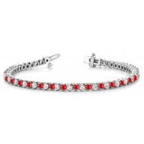 Ruby & Diamond Flexible Chain Bracelet and Necklace