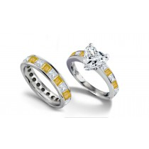 Heart Diamond & Princess Cut Yellow Sapphire & Diamond Engagement Ring & Matching Wedding Band