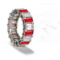 Impeccable Beauty: Gold Emerald Cut Ruby Diamond Eternity Ring