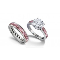 Round Diamond & Baguette PinkSapphire Engagement Ring Wedding Band in Gold