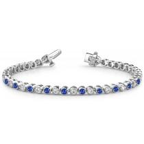 Sapphire & Diamond Link Bracelet Polished or Dull Finish