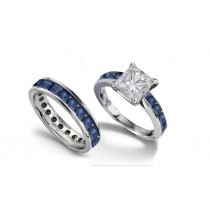 Princess Cut Diamond & Blue Sapphire Engagement Ring & Matching Platinum Band