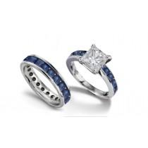 Princess Cut Diamond & Blue SapphireEngagement Ring & Matching Platinum Band