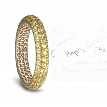 Natural pave Set Yellow Sapphire Eternity Ring in Gold