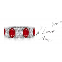 Magnificent: Sparkling Oval Ruby Diamond Eternity Wedding Ring