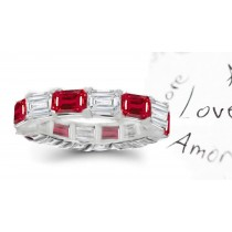 Splendid: Glowing Emerald Cut Ruby & Diamond Eternity Ring