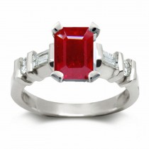 Ruby Rings:Ruby Center Octogon and Side Diamonds Ring in Platinum