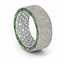 Shop Fine Quality Made To Order Round pave Set Diamond & Emerald Eternity Style Wedding & Anniversary Rings