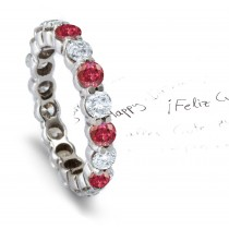 Prong Set Red Diamond Eternity Wedding and Anniversary Ring in Gold